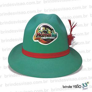Brindes Visão - O Rei do E.V.A. - Chapéu modelo Tirolês (Alemão), opção de impressão na frente, atrás e nas laterais, de 1 cor a cromia. Diversas cores de E.V.A.