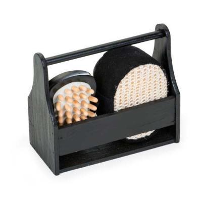 """Ewox Promocional - Kit banho 4 peças ecológico em """"caixa/cesta"""" de madeira preta. Possui bucha para banho, espelho, pedra pomes e massageador."""