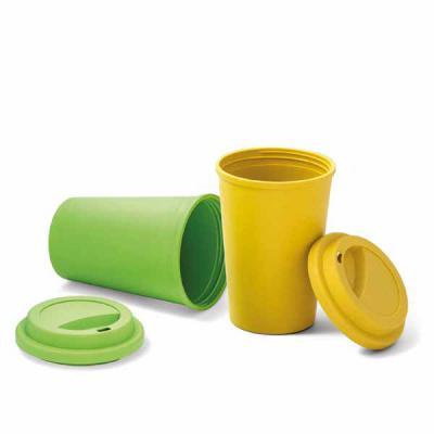 Ewox Promocional - Copo para viagem. Fibra de bambu e PP. Com tampa. Capacidade até 450 ml. Food grade. ø93 x 134 mm Copo para viagem. Fibra de bambu e PP. Com tampa. Ca...