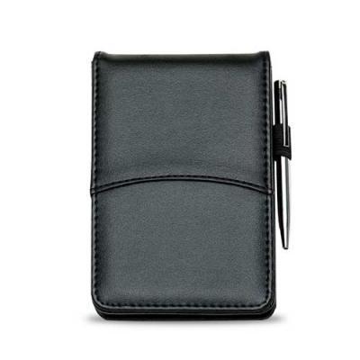 Ewox Promocional - Bloco de anotações com capa de couro sintético. Possui calculadora solar plástica de 8 dígitos, uma caneta plástica com clip de metal acionada por gir...