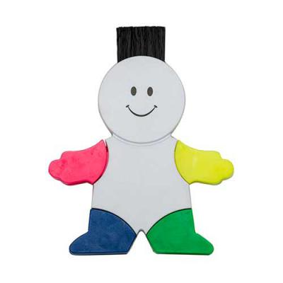 Ewox Promocional - Boneco marca texto branco em plástico resistente. Possui quatro cores de marca texto, parte traseira da cabeça possui limpador de tela e ao puxar botã...