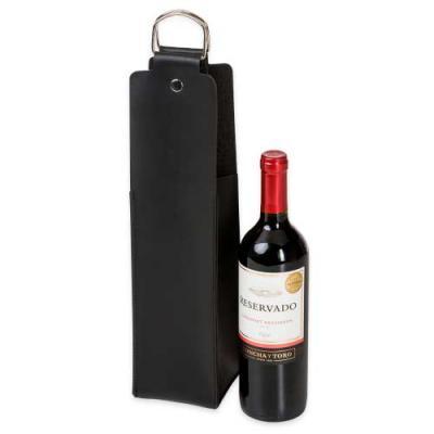 Ewox Promocional - Estojo para vinho em couro sintético Bidins. Possui duas alças metálicas com botões para lacre.