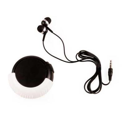 Ewox Promocional - Fone de ouvido plástico em estojo. Fone de ouvido auricular de entrada P2, compatível com a maioria dos dispositivos de música. Estojo em formato disc...