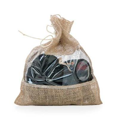 Ewox Promocional - Kit banho ecológico 4 peças, embalagem saco de Juta com visor plástico. Possui esponja para banho com alça, espelho de madeira, pedra pome com alça de...