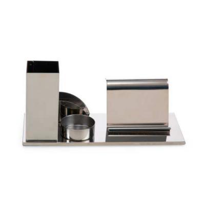 Ewox Promocional - Kit escritório 4 em 1 em inox espelhado. Possui suporte para canetas, cartões, clips e celular.