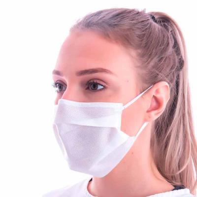 ewox-promocional - Máscara descartável TNT SMMMS, tecido em conformidade com resolução da Anvisa. A máscara possui clipe nasal e é resistente a água, contendo 96% de fil...