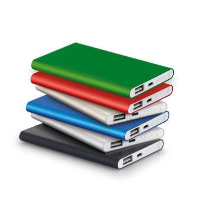 Fly Brindes - Bateria portátil slim Bateria portátil slim. Alumínio. Bateria de lítio.  Capacidade: 4.400 mAh. Tempo de vida ≥ 500 ciclos.  Com entrada/saída...