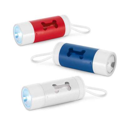Fly Brindes - Kit de higiene para cachorro. ABS. Com LED, mosquetão e 10 sacos plástico. Incluso 3 pilhas LR1130. Porta-saco: ø40 x 100 mm | Sacos plástico: 265 x 3...