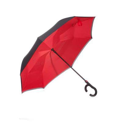 Fly Brindes - Guarda-chuva invertido com forro interno. Tecido de nylon impermeável externo(preto) e interno(colorido), possui um mecanismo inovador que permite ao...