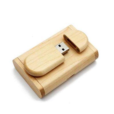 Fly Brindes - Kit pen drive madeira com estojo 4gb 8gb 16gb