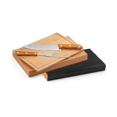 BrindeShop - Kit churrasco Aço inox e bambu. Tábua e 2 peças