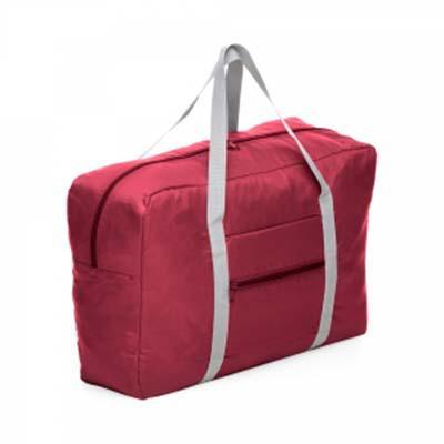 Seleta Brindes - Bolsa de viagem dobrável confeccionada em poliéster e alça para mãos em nylon.