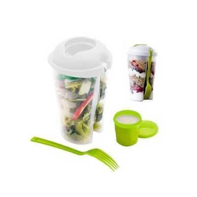 Seleta Brindes - Copo salada 850ml com garfo e suporte para molho
