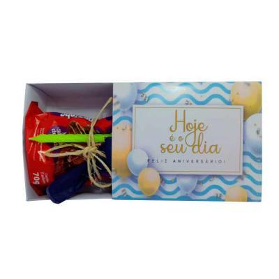 Luxus Comercial - Kit parabéns para aniversário  contendo 1 bolinho, 1 vela e 1 bexiga dentro de caixinha modelo gaveta personalizada Kit doces e doces