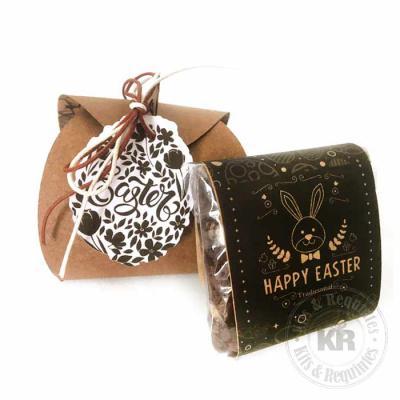 Kits & Requintes - Caixa em papelão Kraft (base 6,5cm x 6,5cm x 7cm altura), com fitas coloridas e Tag personalizada contendo 1 Brownie 60g (tamanho 6cm x 6cm) com rótul...