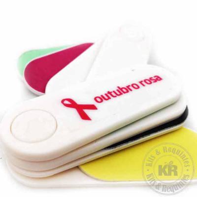 Kits & Requintes - Lixa Polidora Leque personalizada com adesivo: material plástico. 2 lixas abrasivas e 2 polidoras. Dimensões: 2cm Comp x 6,5cm L x 1,5cm A x 15g. Emba...