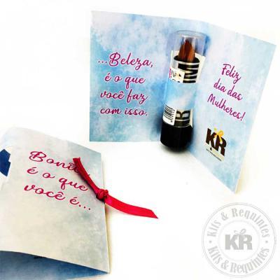 Kits & Requintes - Card personalizado com Batom Ruby Rose e laço. Consulte valores com outras marcas de Batom.