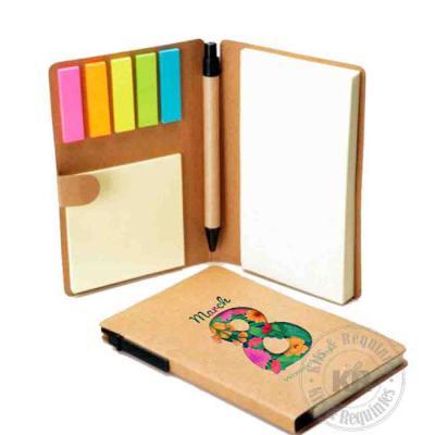 Kits & Requintes - Caderneta Personalizada com Sticky notes e Caneta. Tamanho: 10cm L X 15cm A.