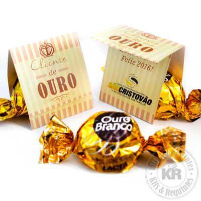Kits & Requintes - Card Personalizado com 1 Bombom Ouro Branco.