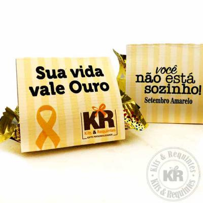 Kits & Requintes - Bombom ouro branco personalizado.  Setembro amarelo - mês mundial de prevenção ao suicídio.