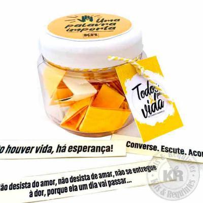 Kits & Requintes - Potinho de plástico personalizado com 30 mensagens de motivação!  Setembro amarelo, setembro verde e amarelo, campanha contra o suídio, valor a vida A...