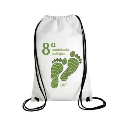 Art Stillos - Mochila saco personalizada tamanho 45x33cm com cordão em Nylon ou lona de algodão