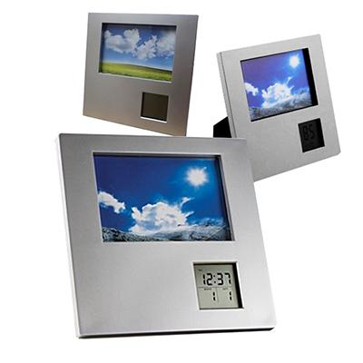 WDC Brindes - Porta retrato de mesa com relógio e calendário digital.
