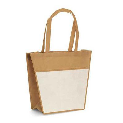 Link Promocional - Sacola com bolso frontal e alças de 60 cm. Material: Non-woven: 80 g/m².   Tamanho: 400 x 350 x 150 mm.