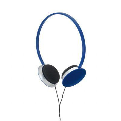 Link Promocional - Fone de ouvido na cor Azul Royal. Cabo de 1,20 m com ligação stereo de 3,5 mm. Material: ABS. Tamanho: 150 x 165 mm.