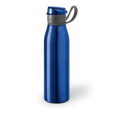 Link Promocional - Squeeze na cor Azul com Capacidade: 650 ml.  Material: Alumínio e AS. Tamanho: ø66 x 240 mm