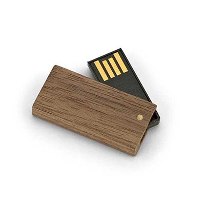 Link Promocional - Pen Drive mini em madeira com memória COB. Madeiras disponíveis: Bordo, Bambu e Nogueira