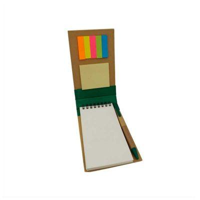 No Ato Brindes - Bloco de anotações ecológico com sticky notes e caneta reciclável.