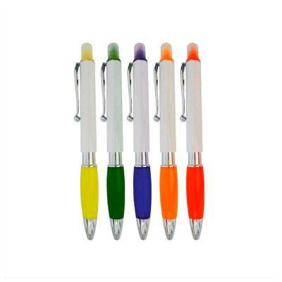 No Ato Brindes - Caneta marca texto personalizada. Com corpo branco e 05 opções de cores de marca texto, logomarca pode ser personalizada em tampografia