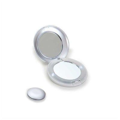no-ato-brindes - Espelho duplo personalizado com dois pontos de luz laterais.