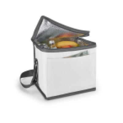 Agitalle Brindes Promocionais - Bolsa térmica. 600D. Com alça ajustável em webbing e bolso frontal. Capacidade até 9 litros. Food grade. 240 x 220 x 170 mm
