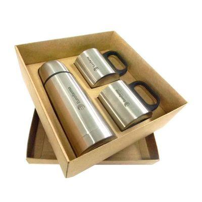 Direct Brindes Personalizados - Kit garrafa térmica 350 ml + duas canecas metal