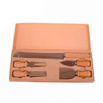 Direct Brindes Personalizados - Kit queijo 5 peças e estojo de madeira