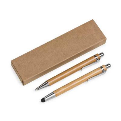 Direct Brindes Personalizados - Conjunto ecológico caneta e lapiseira em bambu com estojo de papelão