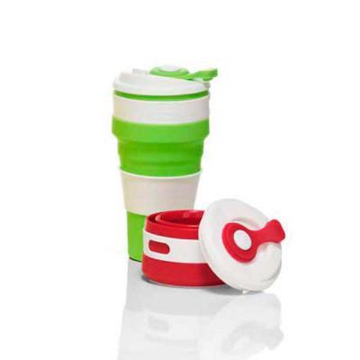 Direct Brindes Personalizados - Copo de Silicone retrátil com tampa plástica