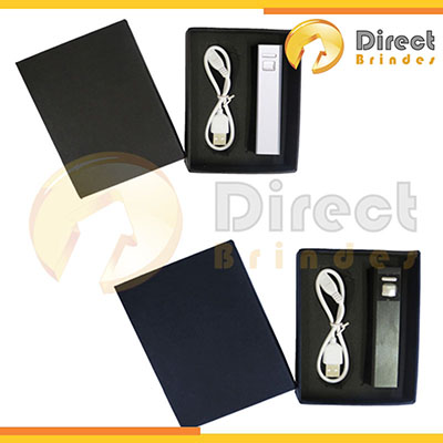Direct Brindes Personalizados - Kit Carregador Power Bank Metal.