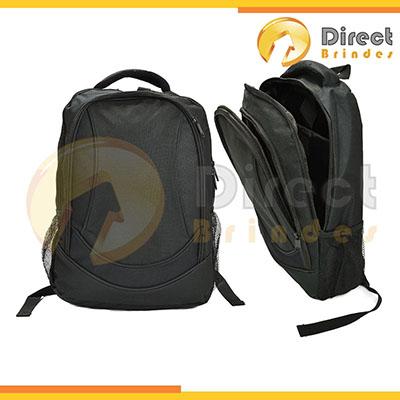 Direct Brindes Personalizados - Mochila preta esportiva e elegante, divisórias internas e zíper em metal. Modelo Unissex. Gravação em plaquinha de metal