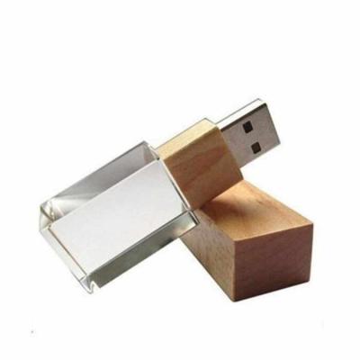 Direct Brindes Personalizados - Pen drive bambu e cristal Personalizado