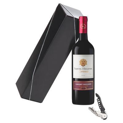 Direct Brindes Personalizados - Kit bebida acompanha 1 saca-rolhas de 2 estágios e 1 vinho de 750ml.  -Embalagem personalizada caixa cartonada promocional.