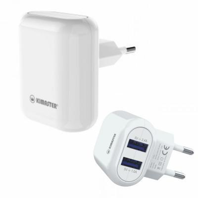 Direct Brindes Personalizados - Carregador de parede Kimaster - 2 USB 2.4A 1