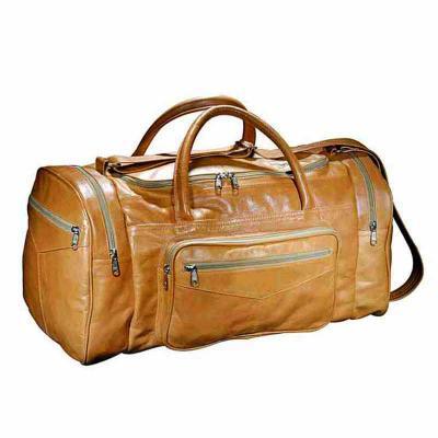 UP Couro - Bolsa de viagem personalizada, pespontada, confeccionada em couro ou sintético, alça de mão e bolsos laterais
