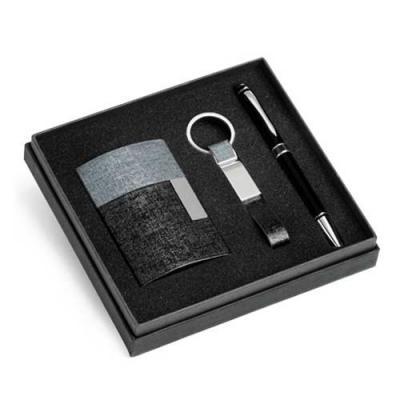 UP Couro - Kit de porta cartões, chaveiro e esferográfica