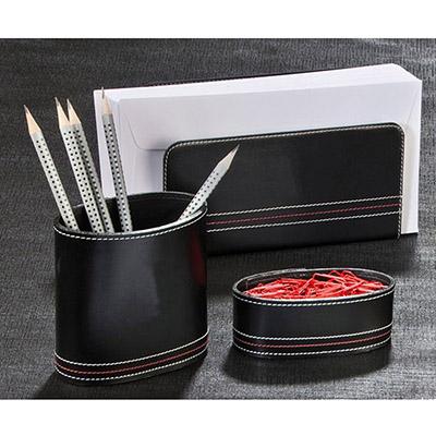 UP Couro - Kit escritório, confeccionado em couro, com: porta cartas, porta canetas e clips