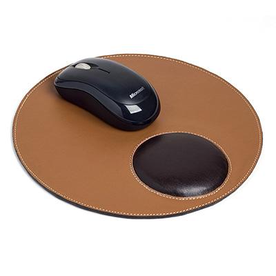 UP Couro - Mouse pad personalizado, confeccionado em couro ou sintético, formato redondo com descanso ergonômico