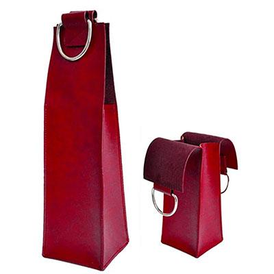 UP Couro - Porta vinho confeccionado em couro ou sintético e com alça de metal. Medida 40 x 10 cm