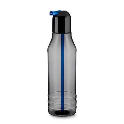 canarinho-brindes - Garrafa plástica personalizada 600ml fumê transparente com tampa rosqueável, bico de canudo colorido e três linhas em relevo na parte inferior. Livre...